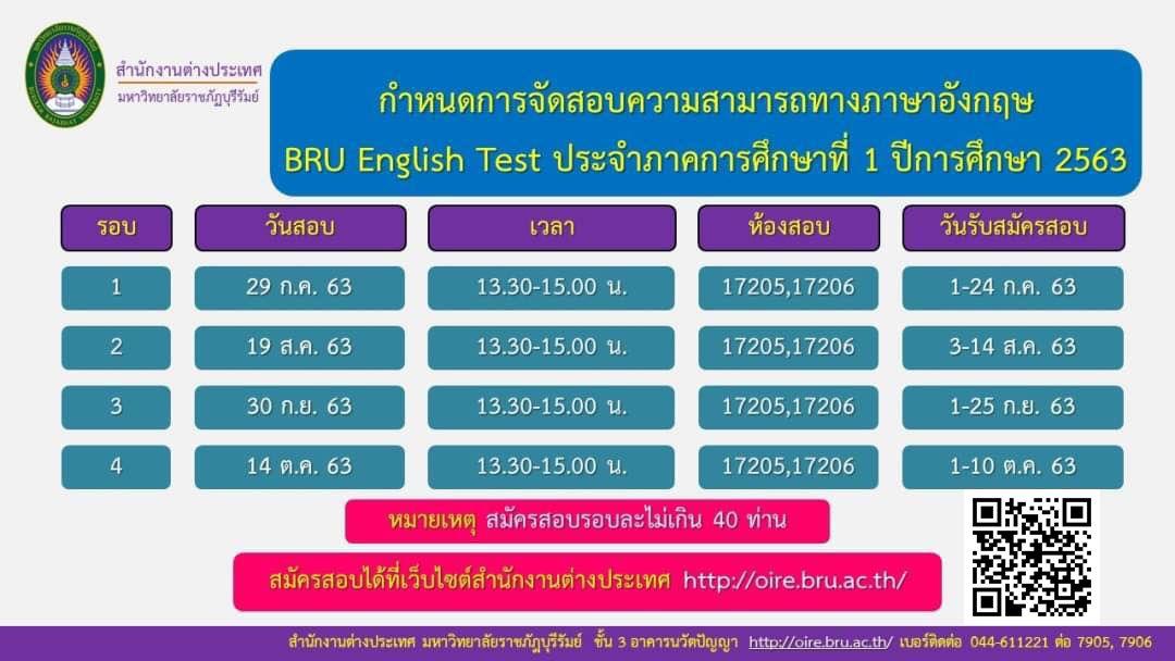 สำนักงานต่างประเทศขอเชิญชวนสมัครสอบภาษาอังกฤษ (BRU English Test) สมัครฟรีไม่มีค่าใช้จ่าย รับเพียงรอบละ 40 ท่านเท่านั้น
